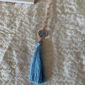 Lauren Conrad blue tassel heart necklace 💕